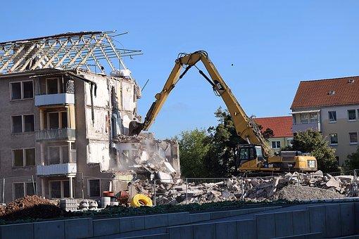 Demolition, Excavators, Building Rubble