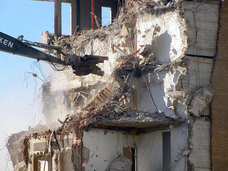 Demolition, Demolition Crane, Bolt Cutters, Debris