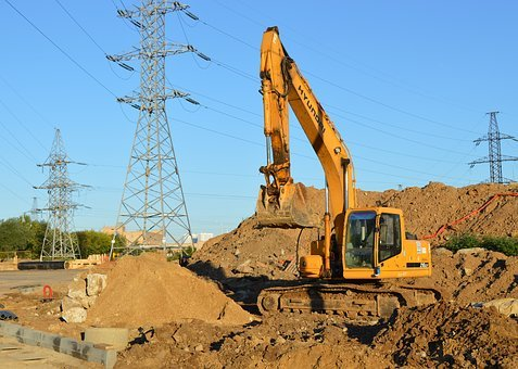 Excavator, Construction Equipment, Excavator Digs, Sand