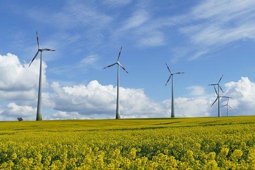 Wind Power, Landscape, Clouds, Sky, Green, Blue