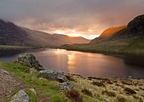 Llyn Idwal, Lake Dawn, Sunrise, Sun, Water, Dawn, Lake