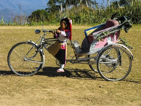 Rickshaw, Little Girl, Costume, Tricycle, Thailand