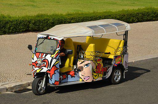 Tuk Tuk, Put On, Lisbon, Tricycle, Moped, Motor Scooter