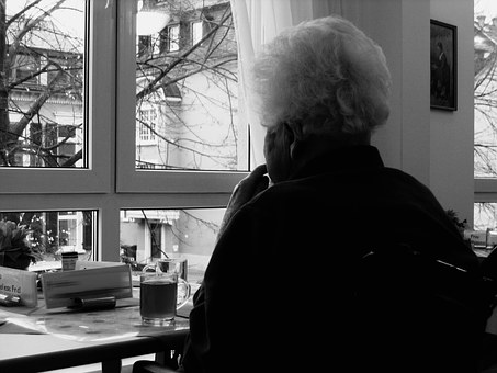 Woman, Old, Dependent, Dementia, Window, View, Think