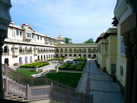 Castle, Palace, Courtyard, India, Jaipur