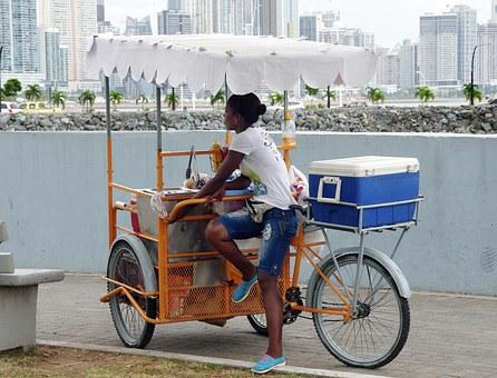 Panama, Saleswoman, Ice, Tricycle, Cyclist