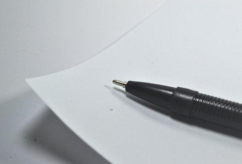 Paper, Pen, Writing, Blank, Mental Block, Confused