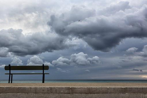 Bench, Sea, Seaside, Beach, Clouds, Marseille, Vacuum