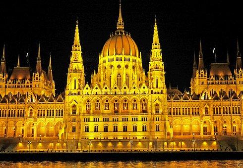 Budapest At Night, Parliament, Danube, Ship Passage