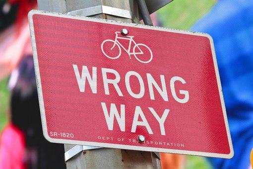 Wrong Way, Wrong, Way, No, Confused, Sign, Transit Sign