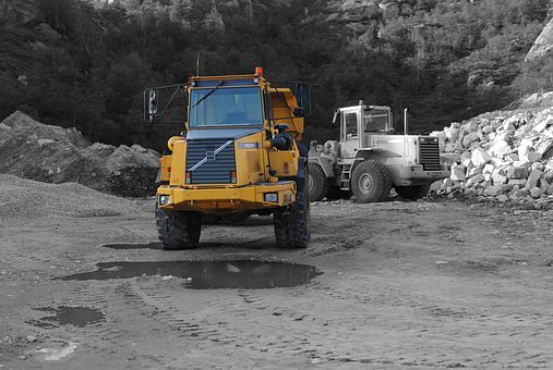 Excavators, Yellow, Site, Construction Work