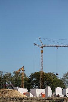 Site, Build, Home, Shell, Construction Work, Baukran