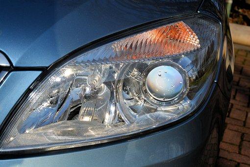 Car Headlights, Spotlight, Front Headlight