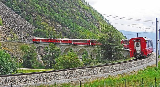 Bernina Railway, Sweeping Viaduct, Brusion, Bernina