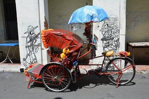 Rickshaw, Three Wheeled Passenger Bike, Sunny, Shadows