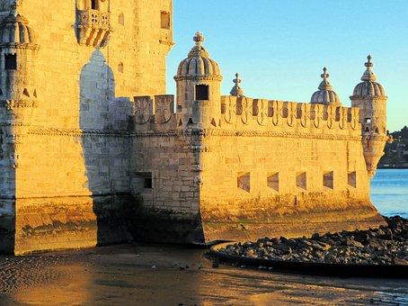 Portugal, Lisbon, Tower, Belem, Rampart, Bartizan