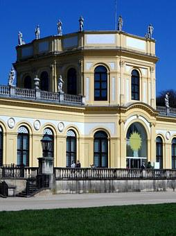 Orangery, Kassel, Detail, Yellow, White, Building