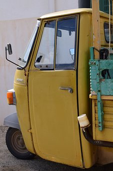 Tricycle, Piaggio, Mediterranean, Small, Yellow