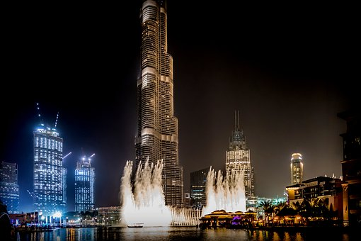 Dubai, Light Show, City, Fountain, Architecture, Facade