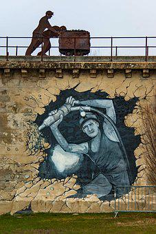 Graffiti, Tag, Paint, Worker, Wall, France, Manosque