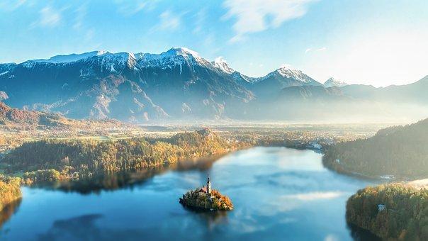 Bled, Slovenia, Lake, Mountains, Mountain, The Fog, Sun
