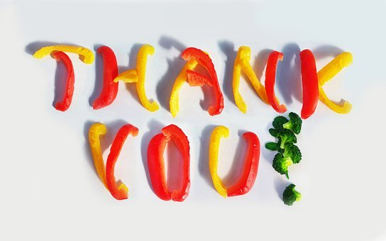 Thank, You, Paprika, Broccoli, Red, Yellow, Message