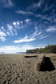 Night, Sky, Star, Beach, Sand, Tribe, Wood, Clouds, Sea