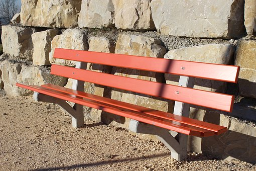 Park Bench, Bank, Red, Seat, Bench, Recovery, Rest, Sit