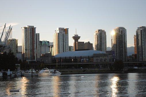 Vancouver, Canada, Skyscrapers, Abendstimmung