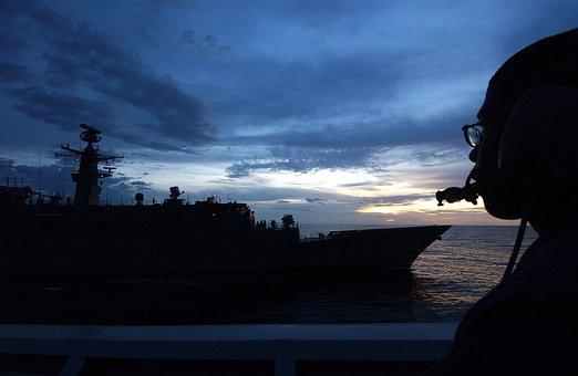 Sky, Clouds, Sea, Ocean, Water, Man, Sailor, Ships