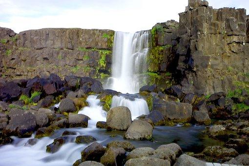öxarárfoss, Iceland, Cascade, Landscape, Water, Nature