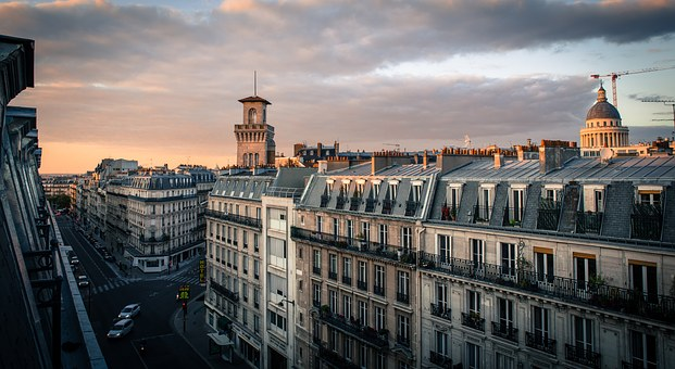 Paris, Sky, Architecture, Roofs, Evening