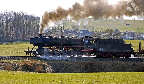 Steam Locomotive, Mountain Ride, Effort, Freight Train
