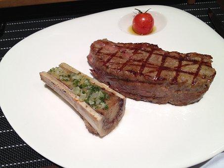Steak, Bone, Restaurant, Meat, Close-up, Dinner