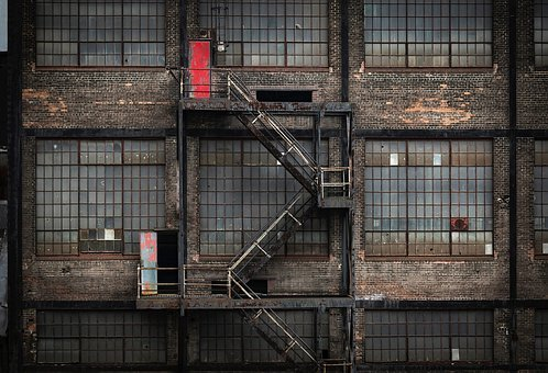 Factory, Building, Abandoned, Fire Escape, Architecture