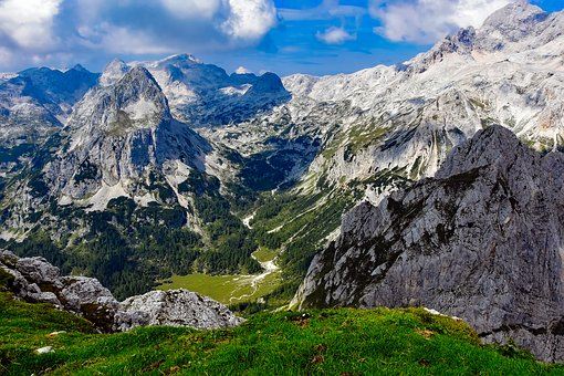 Slovenia, Mountains, Valley, Gorge, Sky, Clouds