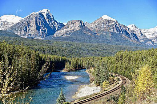 Mountains, Rockies, Railway, Scenic, River, Trees