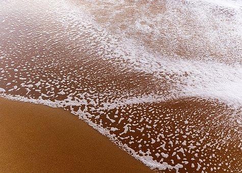 Beach, Wave, Sand, Water, Ebb, Flow, Foam, Bubble