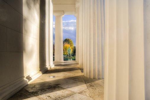 Sun, White, Shade, Building, Vienna, Greek, Columns