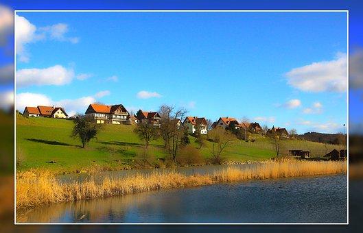 Village, Landscape, Nature, Lake, Water, Lakeside