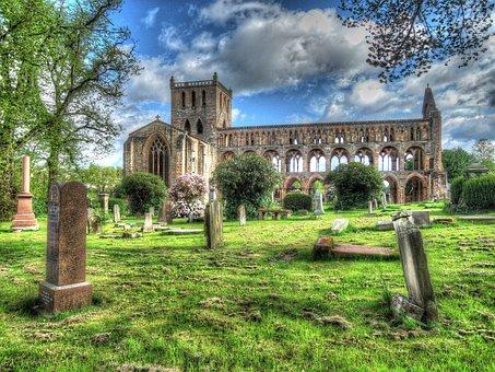 Jedburgh Abbey, Cemetery, Landscape, Ruins