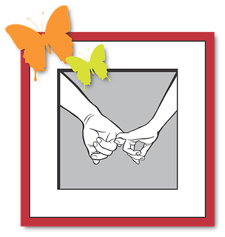 Love, Hands, Keep, Butterfly, Illustration, Frame