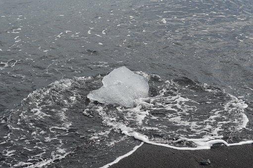Ice, Ice On Beach, Piece Of Ice, Glacier, Beach, Ocean