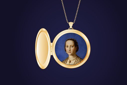 Portrait Of Woman, Painting, Old, Medallion, Jewellery