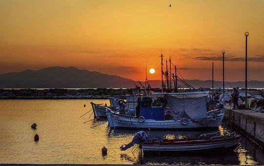 Greece, Thassos, Sunset, Boats, Sea, Sun, Romance
