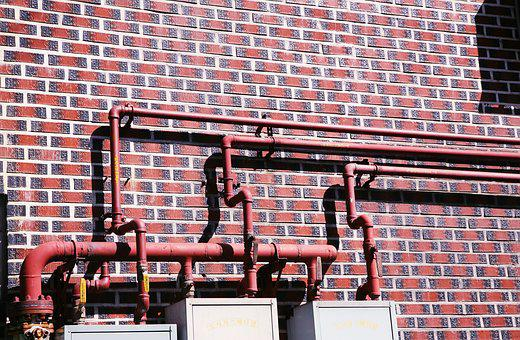 Pipe, Line, House, Iron Pipes, Plumbing, Vent Pipe, Red