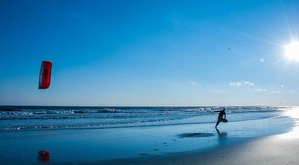 Kite, Beach, Sky, Fun, Flying, Ocean, Activity