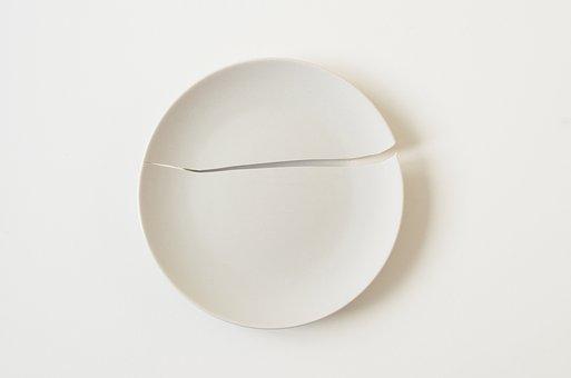 Plate, Broken Plate, Broken, Food, White, Ceramic