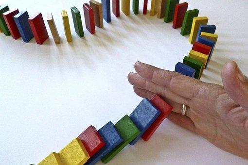 Dominoes, Domino, Barricade, Hand, Stop, Play Stone