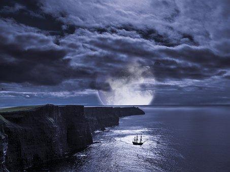 Cliffs, Ireland, Sailing Vessel, Moon